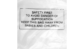 Clear Polybags with Printed Child Suffocation Warning