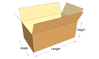 illustration of a 3D mailing box showing its dimensions