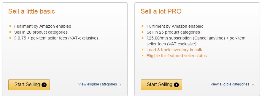 Amazon account types for sellers