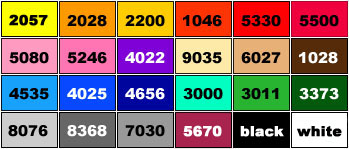 colour chart used when producing designs for custom mailing bags