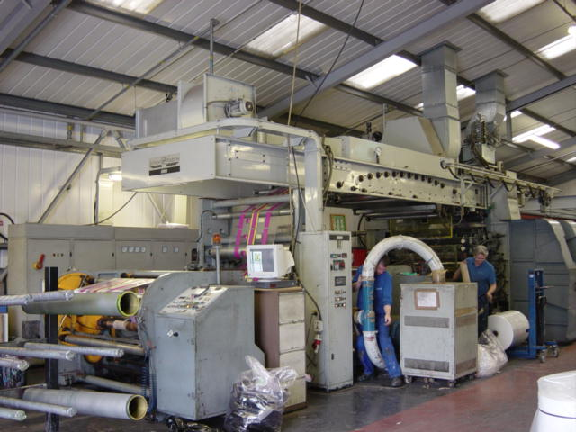view of a poly bag production line within the factory