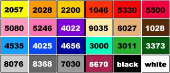 poly bag colour chart