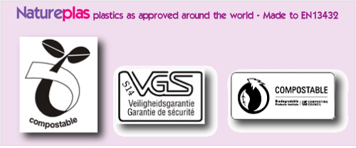 Natureplas plastics approved by other companies logos